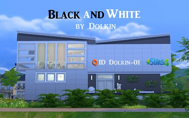 Sims 4 Residential lot Black and White by Dolkin at ihelensims.org.ru