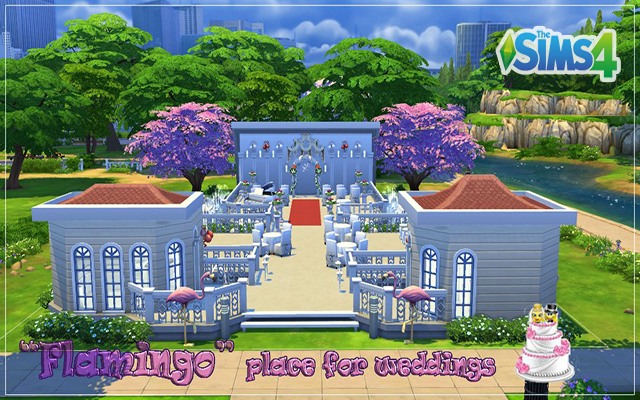 Sims 4 Community lot Flamingo place for weddings by fatalist at ihelensims.org.ru