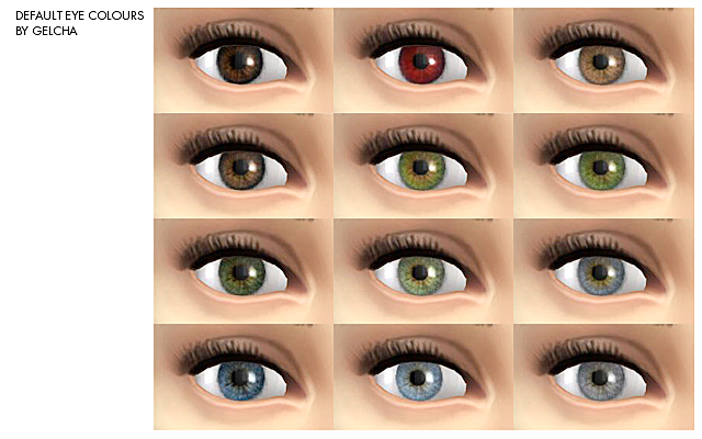 Sims 4 Recolors Default eye colours by Gelcha at ihelensims.org.ru