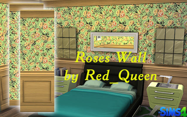 Sims 4 Build/Walls/Floors Roses Wall by Red_Queen at ihelensims.org.ru