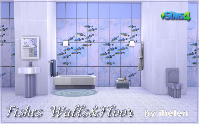 Sims 4 Build/Walls/Floors Fishes Walls&Floor by ihelen at ihelensims.org.ru