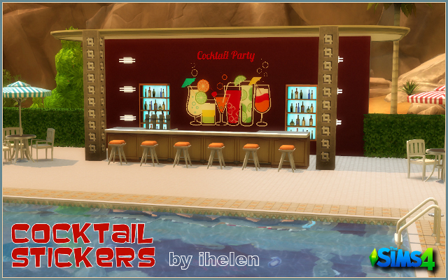 Sims 4 Decor Cocktail Stickers by ihelen at ihelensims.org.ru