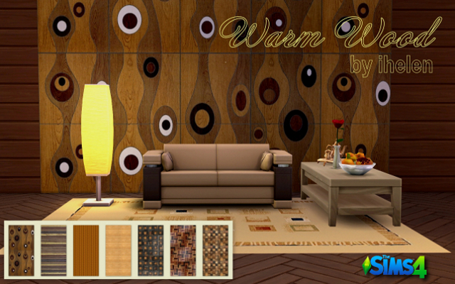 Sims 4 Build/Walls/Floors Warm Wood Walls by ihelen at ihelensims.org.ru