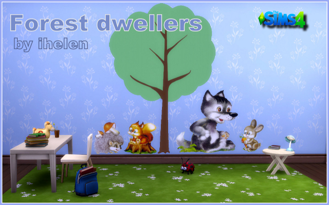Sims 4 Decor Stickers Forest dwellers by ihelen at ihelensims.org.ru