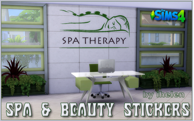 Sims 4 Decor Spa & Beauty Stickers by ihelen at ihelensims.org.ru