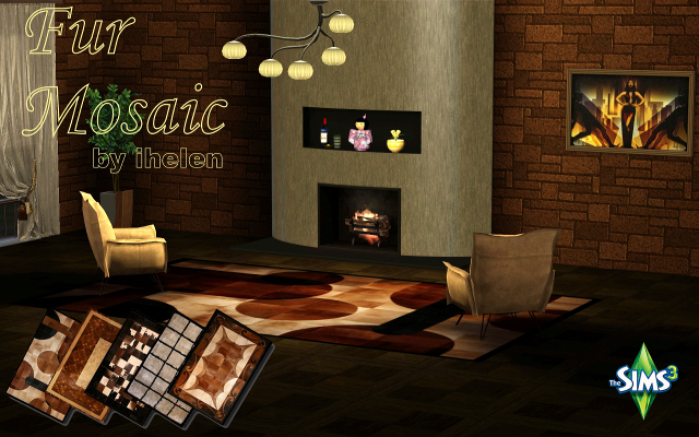 Sims 3 Decor Rugs Fur Mosaic(TS3) by ihelen at ihelensims.org.ru