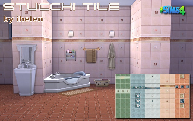 Sims 4 Build/Walls/Floors Stucchi Tile by ihelen at ihelensims.org.ru