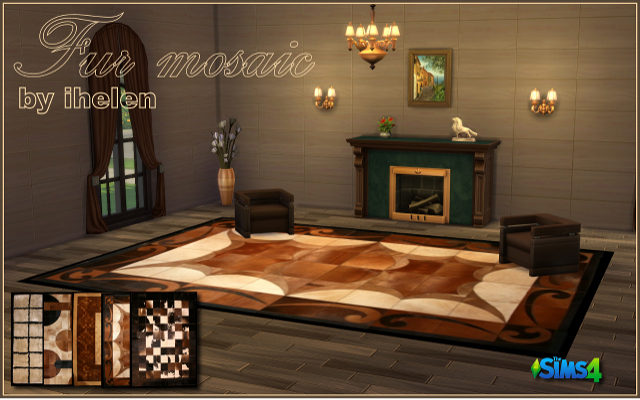 Sims 4 Decor Fur mosaic rugs by ihelen at ihelensims.org.ru