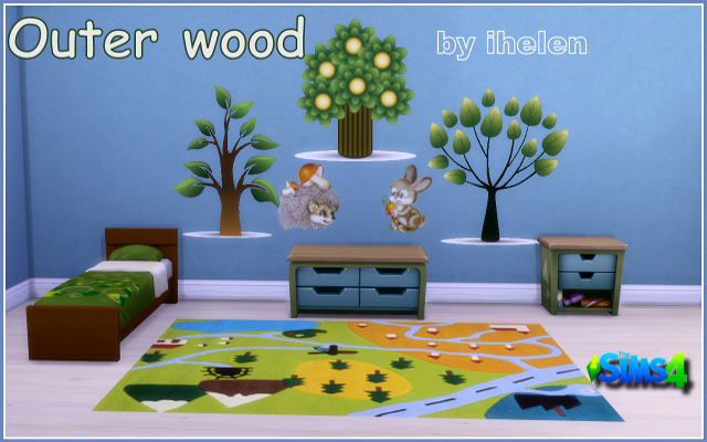 Sims 4 Decor Stiсkers Outer wood by ihelen at ihelensims.org.ru