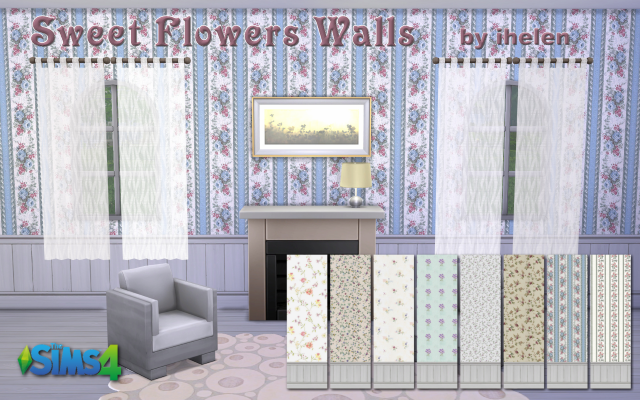 Sims 4 Build/Walls/Floors Sweet flowers Walls by ihelen at ihelensims.org.ru