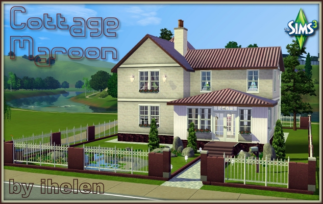 Sims 3 Residential lot Cottage Maroon by ihelen at ihelensims.org.ru