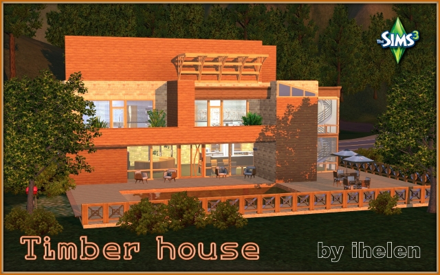 Sims 3 Residential lot Timber house by ihelen at ihelensims.org.ru