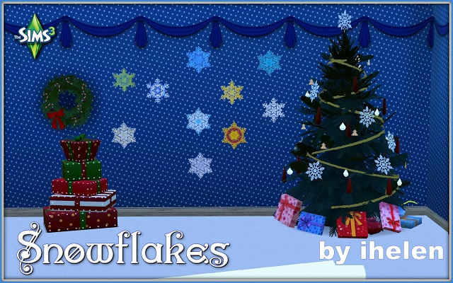 Sims 3 Decor Snowflakes stickers(TS3) by ihelen at ihelensims.org.ru