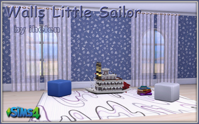Sims 4 Build/Walls/Floors Walls Little Sailor by ihelen at ihelensims.org.ru
