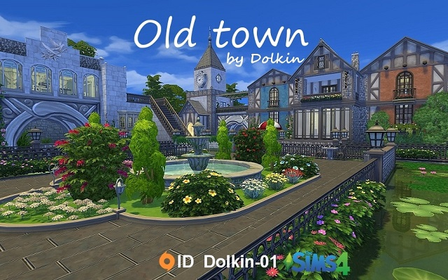 Sims 4 Community lot Old town by Dolkin at ihelensims.org.ru