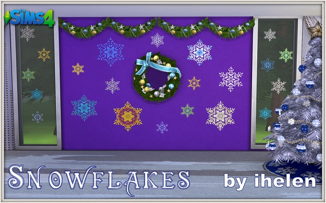 Sims 4 Decor Snowflakes Stickers by ihelen at ihelensims.org.ru