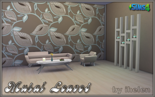 Sims 4 Build/Walls/Floors Mural Leaves by ihelen at ihelensims.org.ru