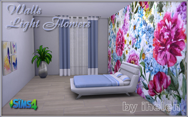 Sims 4 Build/Walls/Floors Walls Light Flowers by ihelen at ihelensims.org.ru