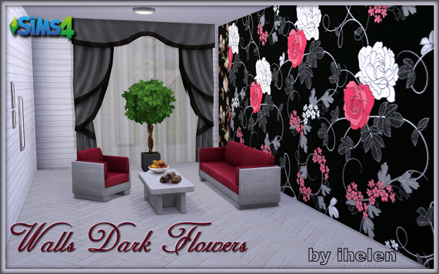 Sims 4 Build/Walls/Floors Walls Dark Flowers by ihelen at ihelensims.org.ru