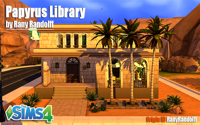 Sims 4 Community lot Papyrus Library by Rany Raydolff at ihelensims.org.ru