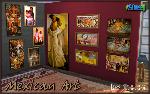 Sims 4 Decor Mexican Art by ihelen at ihelensims.org.ru
