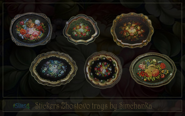 Decor Stickers Zhostovo trays by Simchanka at ihelensims.org.ru